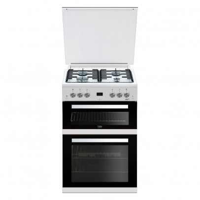 Beko EDG6L33W 60cm Double Oven Gas Cooker With Lid – White