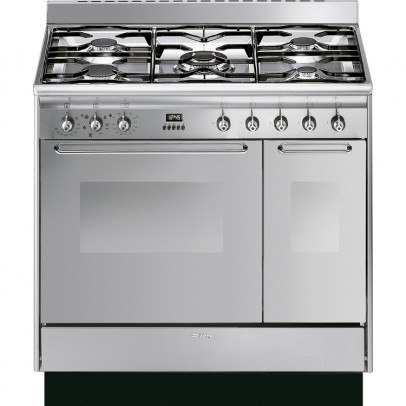 Smeg CC92MX9 90cm 'Cucina' Dual Fuel Range Cooker – Stainless Steel