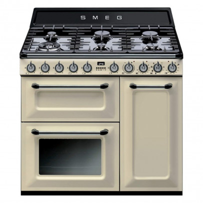 Smeg TR93P 90cm 'Victoria' Dual Fuel Range Cooker – Cream