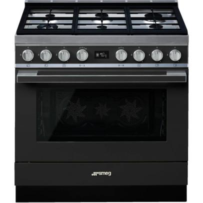 Smeg CPF9GPAN 90cm 'Portofino' Dual Fuel Pyro Single Oven Range Cooker – Anthracite