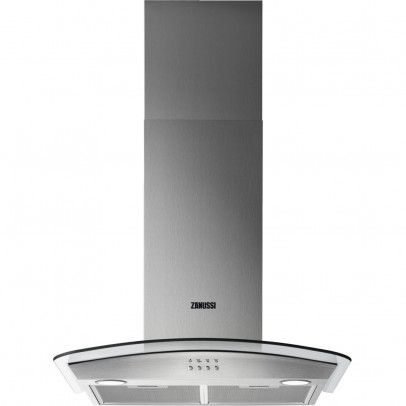 Zanussi ZHC62352X 60cm Curved Glass Chimney Hood – Stainless Steel