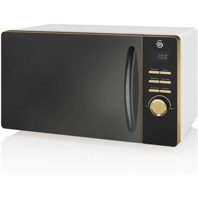 Swan SM22045WHTN 23L Gatsby Solo Microwave – White & Gold