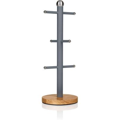 Swan SWKA17510GRYN Nordic Mug Tree with Bamboo Base – Slate Grey