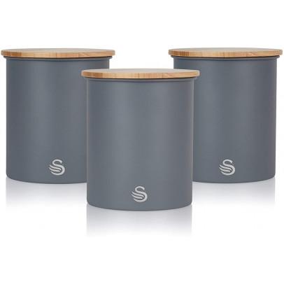 Swan SWKA17513GRYN 'Nordic' Set Of 3 Storage Canisters – Slate Grey