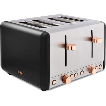Tower T20051RG 4-Slice Cavaletto 4-Slice Toaster – Black & Rose Gold