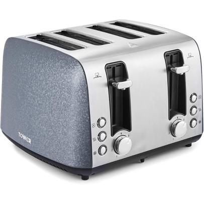 Tower T20053BLU 4-Slice Ice Diamond Toaster – Blue