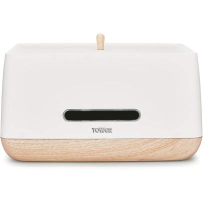 Tower T826030W 'Scandi' Bread Bin – White