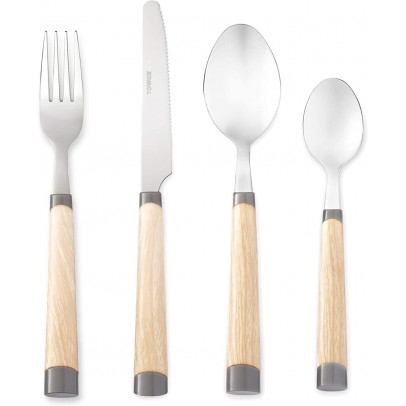 Tower T859004G 16-Piece Scandi Cutlery Set – Grey