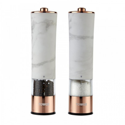 Tower T847005WR 'Marble Rose Gold' Electric Salt & Pepper Mill Set – Marble & Rose Gold