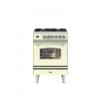 Ilve P06NE3/AWC 60cm Milano Dual Fuel Mini Range with 4 Gas Burners – Antique White with Chrome Trim