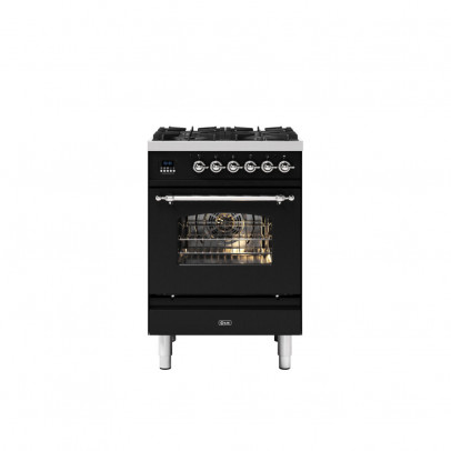 Ilve P06NE3/BKC 60cm Milano Dual Fuel Mini Range with 4 Gas Burners – Gloss Black with Chrome Trim