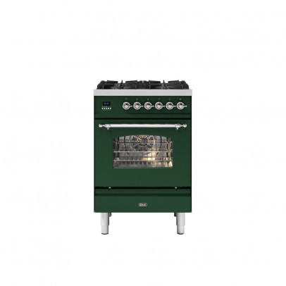 Ilve P06NE3/EGC 60cm Milano Dual Fuel Mini Range with 4 Gas Burners – Emerald Green with Chrome Trim