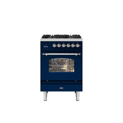 Ilve P06NE3/MBC 60cm Milano Dual Fuel Mini Range with 4 Gas Burners – Midnight Blue with Chrome Trim
