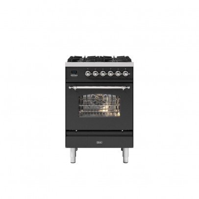 Ilve P06NE3/MGC 60cm Milano Dual Fuel Mini Range with 4 Gas Burners – Matt Graphite with Chrome Trim
