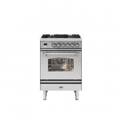 Ilve P06NE3/SSC 60cm Milano Dual Fuel Mini Range with 4 Gas Burners – Stainless Steel with Chrome Trim