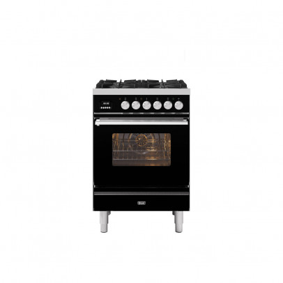 Ilve P06WE3/BK 60cm Roma Dual Fuel Mini Range with 4 Gas Burners – Gloss Black