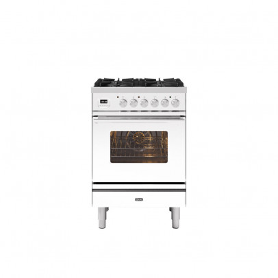 Ilve P06WE3/WH 60cm Roma Dual Fuel Mini Range with 4 Gas Burners – White