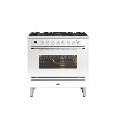Ilve P096WE3/WH 90cm Roma Dual Fuel Single Oven Range Cooker with 6 Gas Burners – White