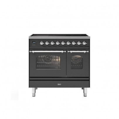 Ilve PDI09NE3/MGC 90cm Milano Induction Double Oven Range Cooker with 5 Induction Zones – Matt Graphite with Chrome Trim