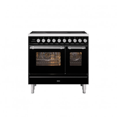 Ilve PDI09WE3/BK 90cm Roma Induction Double Oven Range Cooker with 5 Induction Zones – Gloss Black