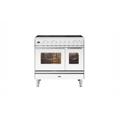 Ilve PDI09WE3/WH 90cm Roma Induction Double Oven Range Cooker with 5 Induction Zones – White