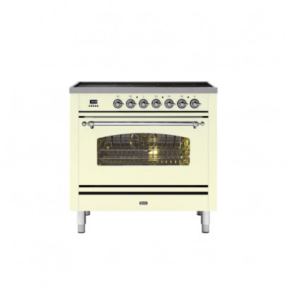Ilve PI09NE3/AWC 90cm Milano Dual Fuel Single Oven Range Cooker with 5 Induction Zones – Antique White with Chrome Trim