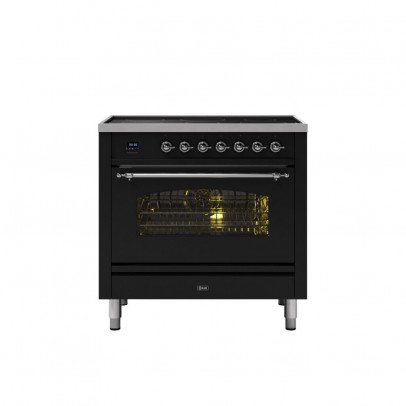 Ilve PI09NE3/BKC 90cm Milano Dual Fuel Single Oven Range Cooker with 5 Induction Zones – Gloss Black with Chrome Trim