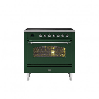 Ilve PI09NE3/EGC 90cm Milano Dual Fuel Single Oven Range Cooker with 5 Induction Zones – Emerald Green with Chrome Trim