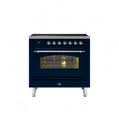 Ilve PI09NE3/MBC 90cm Milano Dual Fuel Single Oven Range Cooker with 5 Induction Zones – Midnight Blue with Chrome Trim
