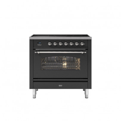 Ilve PI09NE3/MGC 90cm Milano Dual Fuel Single Oven Range Cooker with 5 Induction Zones – Matt Graphite with Chrome Trim