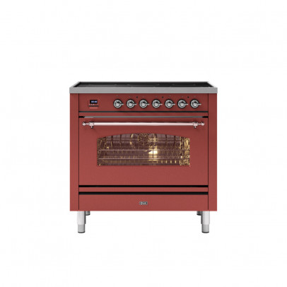 Ilve PI09NE3/RUC 90cm Milano Dual Fuel Single Oven Range Cooker with 5 Induction Zones – Burgundy Red with Chrome Trim