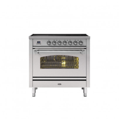 Ilve PI09NE3/SSC 90cm Milano Dual Fuel Single Oven Range Cooker with 5 Induction Zones – Stainless Steel with Chrome Trim