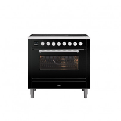 Ilve PI09WE3/BK 90cm Roma Dual Fuel Single Oven Range Cooker with 5 Induction Zones – Gloss Black