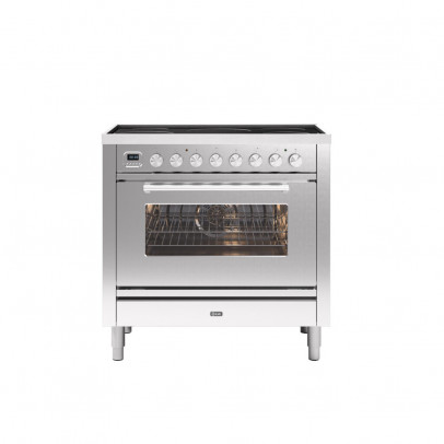 Ilve PI09WE3/SS 90cm Roma Dual Fuel Single Oven Range Cooker with 5 Induction Zones – Stainless Steel