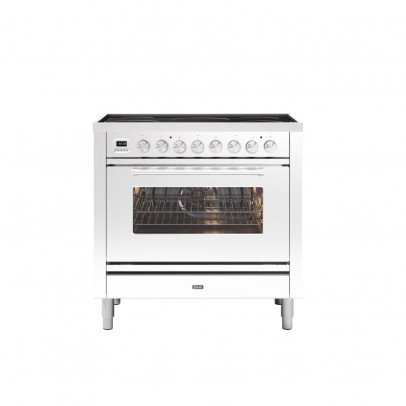 Ilve PI09WE3/WH 90cm Roma Dual Fuel Single Oven Range Cooker with 5 Induction Zones – White