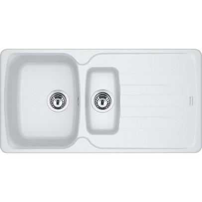 Franke AZG651-PW 97cm 'Antea' 1.5 Bowl Fragranite Inset Sink with Reversible Drainer – Polar White