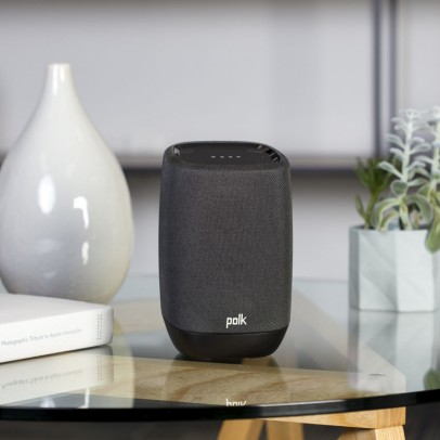 Polk Assist-B Google Assistant Smart Speaker with Bluetooth – Black